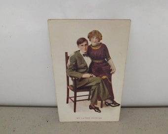 Antique Post Card Young Couple