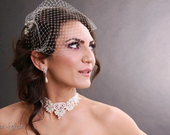 Bridal birdcage veil ivory with pearls and crystals, wedding hairpiece with rhinestones and pearls ivory birdcage veil vintage
