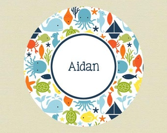 Personalized Ocean Creatures Nautical Plate - Boys Multi-Colored Melamine Dinner  Plate, Bowl, Mug or Placemat