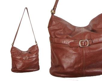 Large Brown Floppy Leather Shoulder Bag // Brown Leather Purse // H141