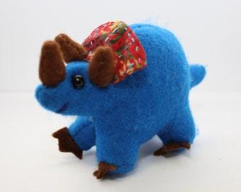 Hand Sewn Dinosaur Stuffed Animal Blue Triceratops