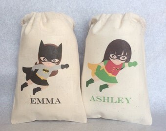 "14 Superhero Party Favor Bags, Supergirl, Superhero Party, 4""x6"""