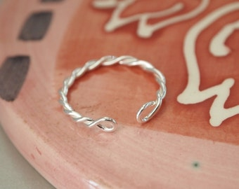 1 PC, Ring Base, Sterling Silver, Twisted Wire Ring Base, Adjustable Ring, Celtic Torc Ring, DIY Jewelry Supplies