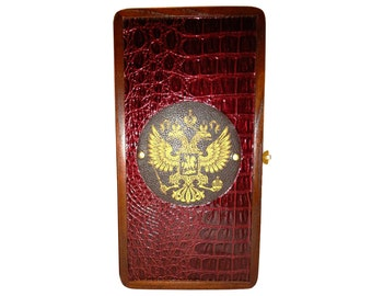 Handmade Carved Wooden Backgammon Board Game Set Double Headed Eagle