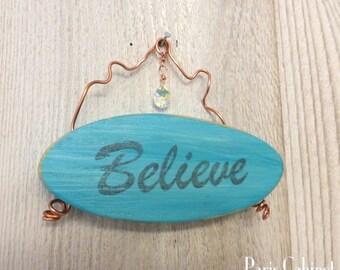 Believe Sign Swarovski Crystal Copper Wire Distressed Small Garden Sign