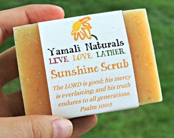 SUNSHINE SCRUB Natural Hand & Body Bar - Cold Processed Essential Oil Soap - Fresh Lemongrass and Cedar Cornmeal Scrub Soap