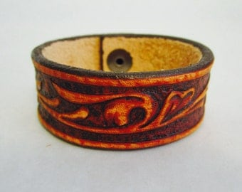 Leather Cuff Bracelet Hand Tooled Vine
