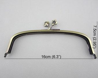 """6.3"""" wide Brushed Gold Color Purse Frame"""