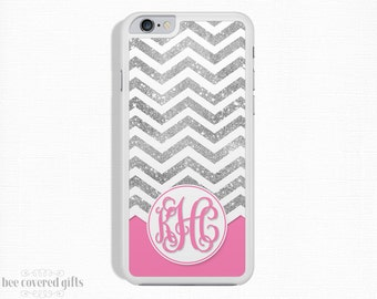 iPhone 6s Plus Case, iPhone 6 Case, iPhone 5s Case, iPhone 5c Case, Silver Glitter Chevron, Monogram (368)