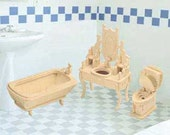 Dollhouse Miniature Bathroom Furniture Wood Puzzle Furniture