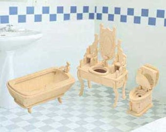 Dollhouse Miniature Bathroom Furniture Wood Puzzle Furniture