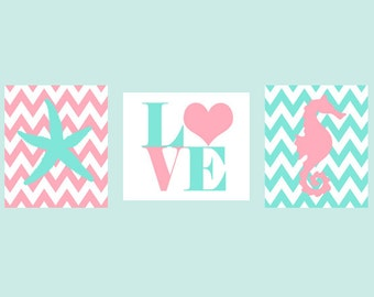 Beach Nursery, Seahorse Print, Starfish Wall Art, LOVE print, Baby Girl Nursery Art, Aqua, Pink, Chevron Nursery, Girl Room, Baby Gift