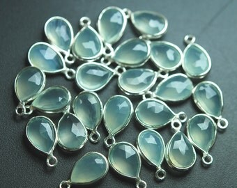 925 Sterling Silver,Sea Green Aqua Chalcedony Faceted Pear Shape Pendant,10 Piece of 14mm