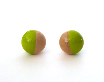 Ready to ship! Lime green stud earrings, wood post earrings, chartreuse earrings, tiny earrings, dipped paint wood, minimalist earrings