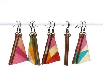 Triangle earrings, wood dangle earrings, triangle pendants, colorblock earrings, lightweight earrings, patterned earrings, geometric