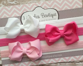 Set of 3 Bow Headbands..Newborn Headband..Baby Girl Headband.Bow Headband..Baby Headband..Toddler Headband..Infant Headband