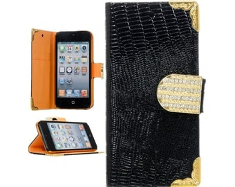 Apple iPod Touch 5 iTouch 5 5th Generation Bling Rhinestone Crystal Lizard Print PU Leather Flip Wallet Cover Case Black