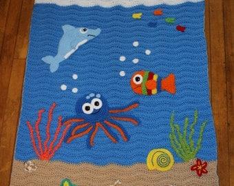 Crocheted Under the Sea Blanket/ Under the Sea/ Crocheted Blanket/  Childs Blanket/ Baby Blanket/ Under the Sea/ Sea creatures/