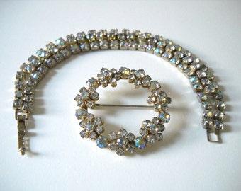 Vintage Rhinestone bracelet and matching brooch set