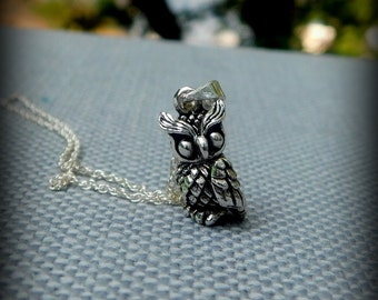Sterling silver Owl necklace, bird necklace, mechanical Owl