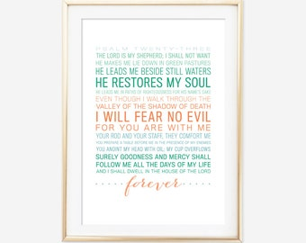 Psalm 23 - Bible Verse Art - Scripture Typographic Print - Christian Decor - Art Prints & Posters - Scripture Typography
