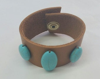 Leather Cuff with Turquoise Stones, Leather & Turquoise Cuff,