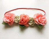 Pink/Beige Headband, Head wreath, Floral Crown, Newborn Photo Props, Newborn Crowns, Floral Headpieces, Floral Headdress, Bridal Crowns