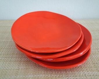 Orange Salad or Tapas Plates - Set of Four