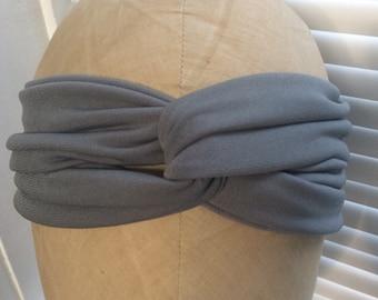 Grey turban, grey turban headband, solid color turban headband, turband, stretchy turban