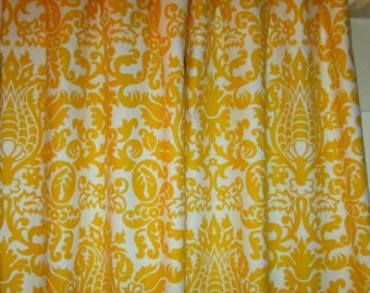 SALE TODAY! One pair yellow amsterdam  DAMASK  curtains