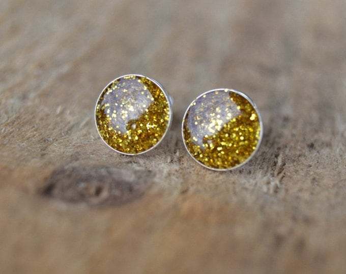 glitter earrings, glitter studs, sparkly earrings, earrings brocade, tiny dot studs, sterling silver stud, dot stud earrings, gold glitter