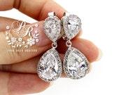 Wedding Earrings Platinum plated Teardrop Zirconia Clip on Earrings Wedding Jewelry Bridesmaid Earrings Bridal Earrings Bridal Jewelry