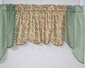 Sage Gingham Quilted Swag Valance