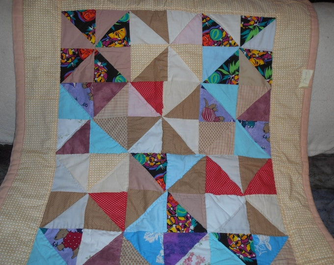 Patchwork Pin Wheel Lap Quilt, Baby Quilt or Pinwheel Throw Quilt