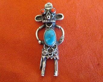 Kachina jewelry, 3 inch pendant, silver, turquoise and coral