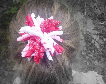 """Red, Pink & White Polka Dot Hair Bow - 4"""" Curly Boutique Korker Bow Clip - M2M, Valentines, Ponytail"""