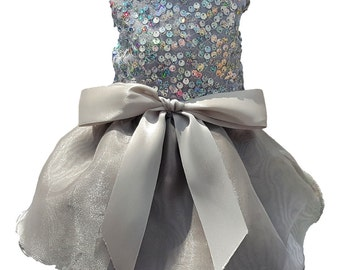Dog Dress,   Dog Clothing, Dog Wedding Dress, Pet Clothing, Silver Sequins