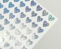 Mini Silver Heart Stickers - Holographic laser stickers - (11mm) - Great for envelope sealing & scrapbooking