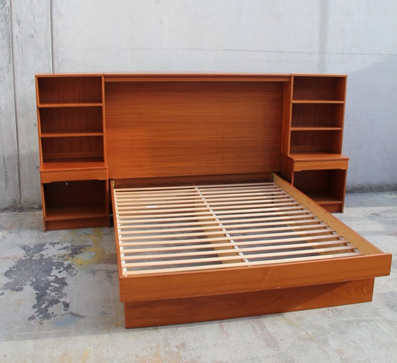 Items similar to sold queen platform bed frame for Bed frame with shelves