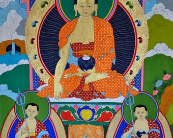 Buddha signed by Sakya Trezin Tibetan silk appliqué thangka of large  Buddha with signature of His Holiness hand made