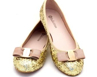 Balletina Flats Taryn Ballerinas Pumps glitter Ballet Shoes, Gold color.