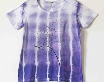 Women's tie dyed screen printed t shirt L