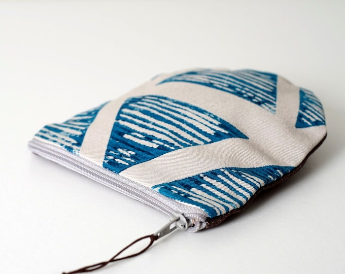 Coin purse - Turquoise Block print Triangle