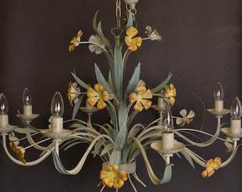 Large  vintage toleware chandelier