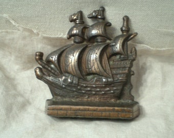 Bookend Bronze Finish Pirate Ship Bookend, Detailed, Beautiful