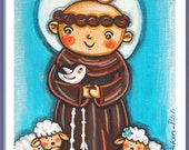 Saint Francis of Assisi print St Francis print Patron saint First communion gift Christening gift Animal lover Catholic wall art Religious