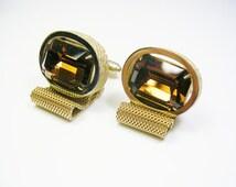 Mesh Wrap Cufflinks / topaz colour Rhinestone / Vegas Style / Shirt Accessory / Men Wedding Jewelry / Formal Wear / Cuff Links / Men's Bling