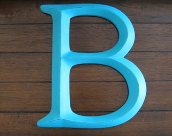 "12"" Letter B / Pick Your Own Letters and Colors / Large Wall Letter / Turquoise Letters / Wall Mantle Nursery Decor / Initials for Wall"