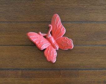 Butterfly Wall Hanging / Cast Iron Wall Art/ Vintage Inspired /Apple Red or Pick Color/ Shabby Chic Wall Decor/ Girl's Room/ Butterfly Decor