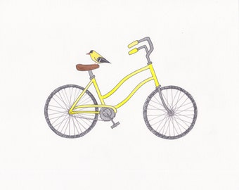 "yellow bike and yellow finch wall art 8""x10"" print"